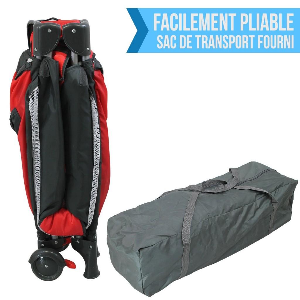 Le lit parapluie doit être facilement pliable et dépliable